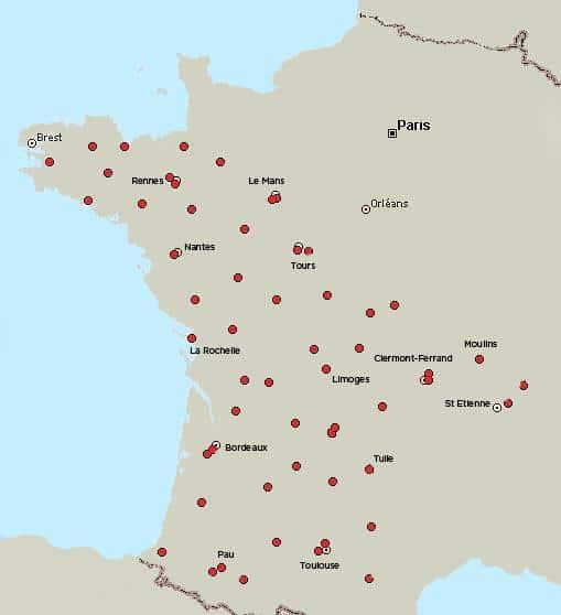 Carte des Agences Suez et Paprec